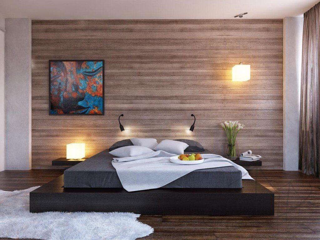minimalist bedroom design ideas black platform bed wood clad bedroom